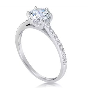 1.75 Ct Round Cut D/Si1 Diamond Solitaire Engagement Ring 14K White Gold