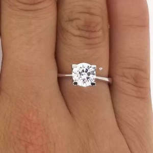 1.76 Ct Round Cut D/Vs2 Diamond Solitaire Engagement Ring 14K White Gold