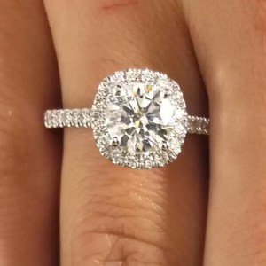 1.86 Carat Round Cut Diamond Engagement Ring 18K White Gold
