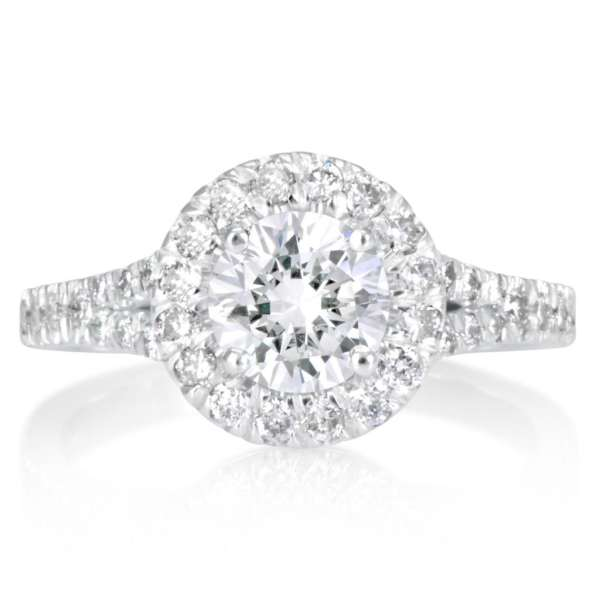 1.9 Carat Round Cut Diamond Engagement Ring 18K White Gold 4