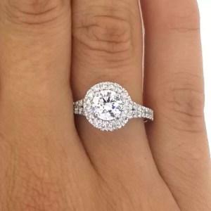 1.9 Carat Round Cut Diamond Engagement Ring 18K White Gold