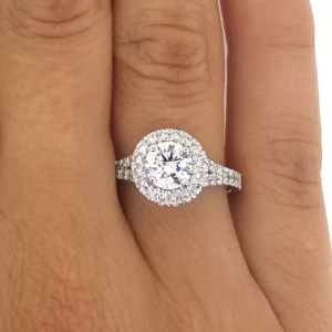 1.90 Ct Round Cut Diamond Solitaire Engagement Ring 18K White Gold