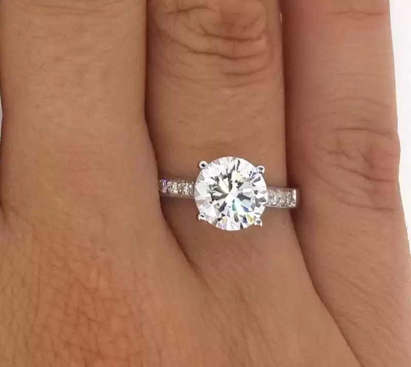ee7170244f19 2 12 Ct Round Cut D Vs2 Diamond Solitaire Engagement Ring 18K White Gold