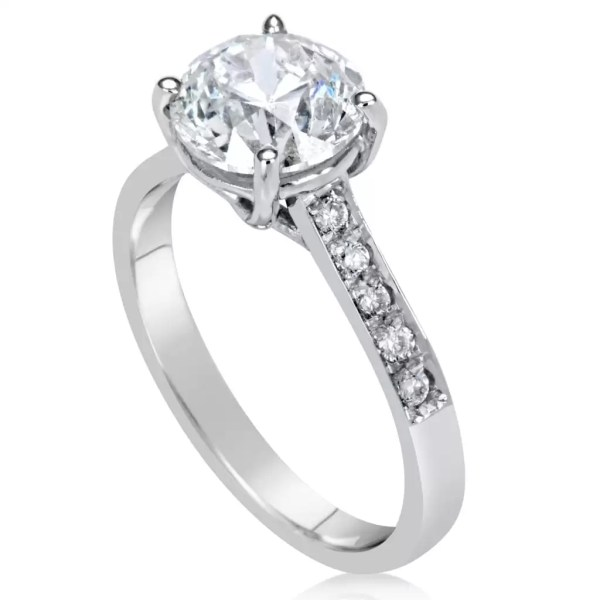 2 12 Ct Round Cut DVs2 Diamond Solitaire Engagement Ring 18K White Gold