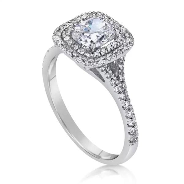 2 Carat Cushion Cut Diamond Engagement Ring 14K White Gold 4