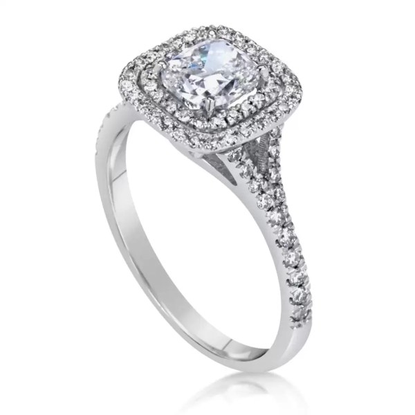2 Carat Cushion Cut Diamond Engagement Ring 14K White Gold 4