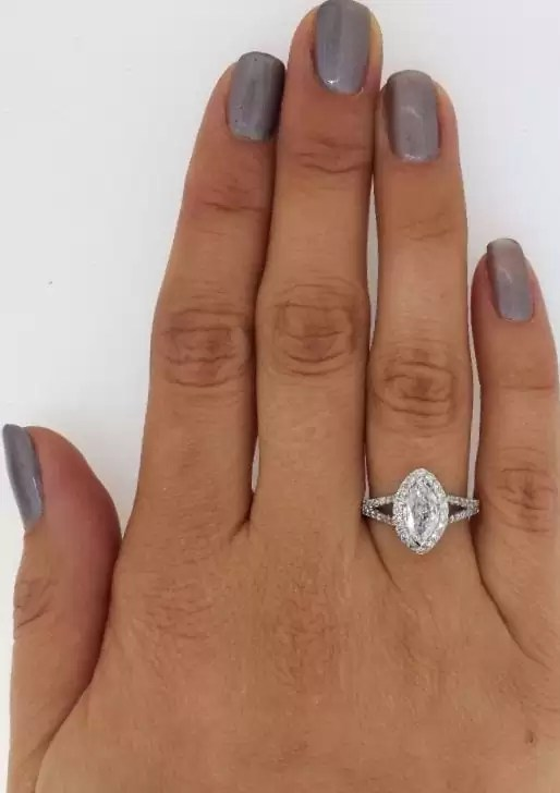 2 Carat Marquise Cut Diamond Engagement Ring 14K White Gold 3
