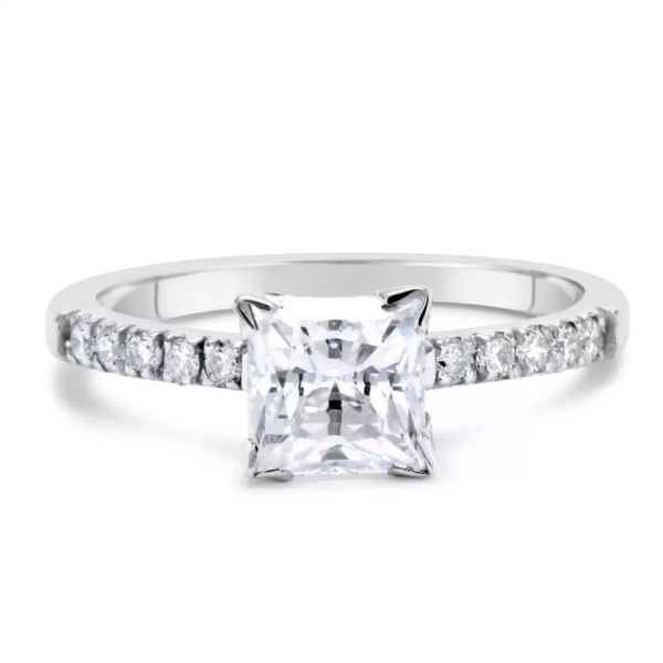 2 Carat Princess Cut Diamond Engagement Ring 14K White Gold 3
