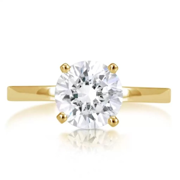 2 Carat Round Cut Diamond Engagement Ring 14K Yellow Gold 2
