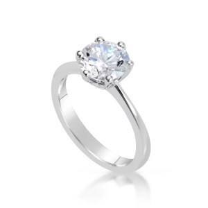 2 Carat Round Cut Diamond Engagement Ring 18K White Gold