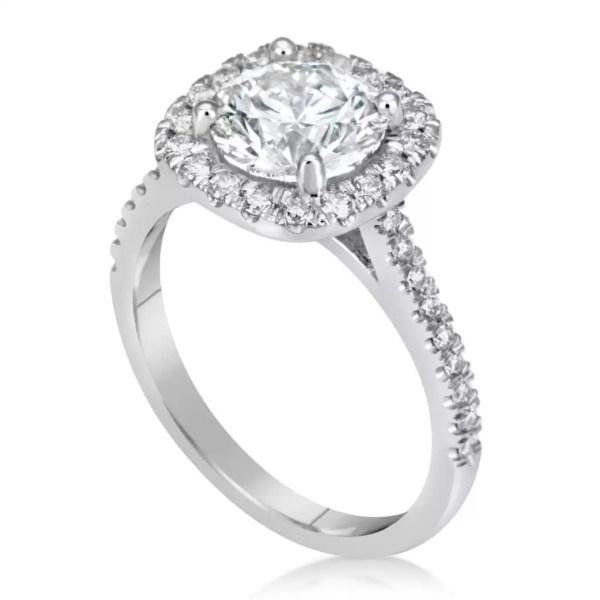2 Carat Round Cut Diamond Engagement Ring 18K White Gold