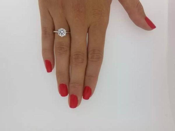 2 Carat Round Cut Diamond Engagement Ring 18K White Gold 4