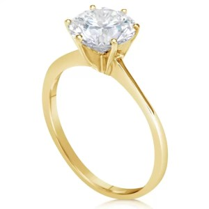 2 Ct Round Cut Vs1 Diamond Solitaire Engagement Ring 14K Yellow Gold