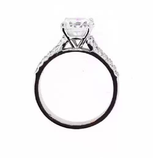 2.10 Ct Round Cut Vs1 Diamond Solitaire Engagement Ring 14K White Gold 2