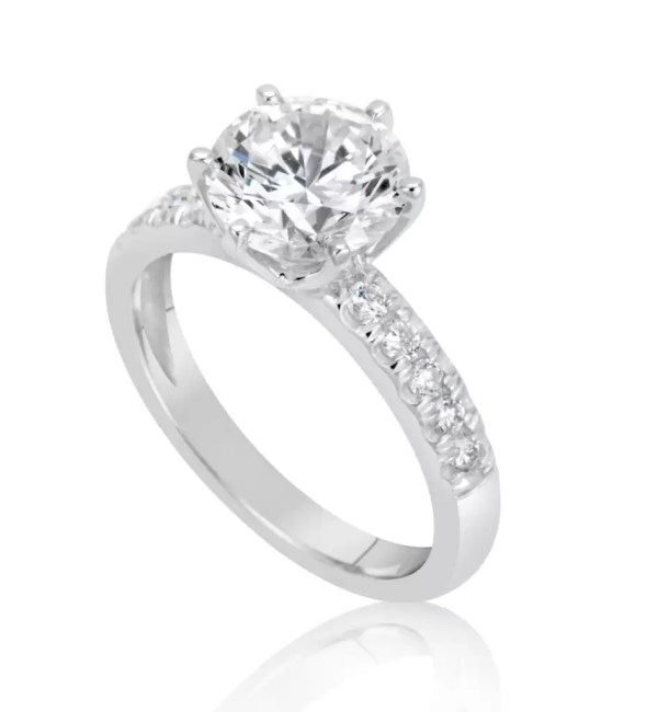 2.15 Ct Round Cut Diamond Solitaire Engagement Ring 18K White Gold 4