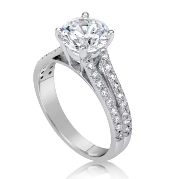 2.20 Ct Round Cut DSi1 Diamond Solitaire Engagement Ring 14K White Gold 3