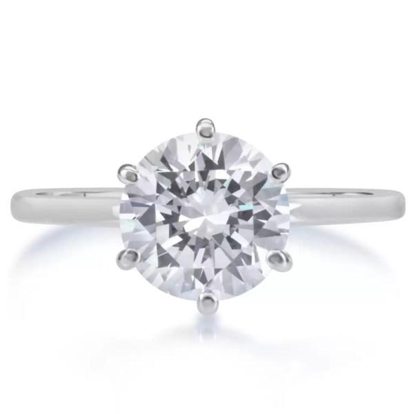 2.25 Carat Round Cut Diamond Engagement Ring 14K White Gold 3