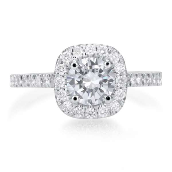 2.25 Carat Round Cut Diamond Engagement Ring 18K White Gold 2