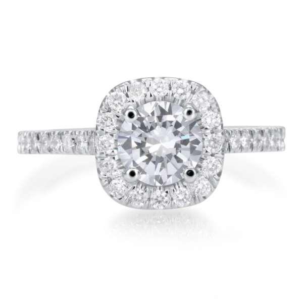 2.25 Carat Round Cut Diamond Engagement Ring 18K White Gold 2