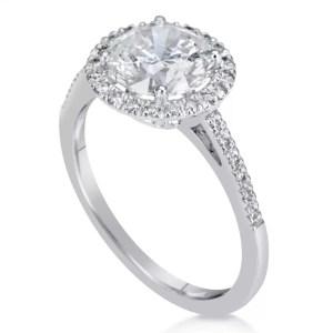 2.3 Carat Round Cut Diamond Engagement Ring 14K White Gold