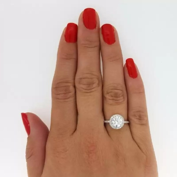 2.30 Ct Round Cut Diamond Solitaire Engagement Ring 18K White Gold 2