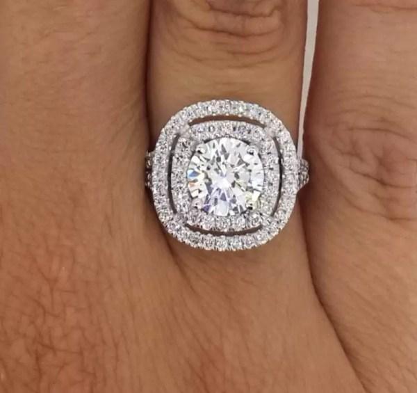 2.32 Carat Round Cut Diamond Engagement Ring 14K White Gold 2