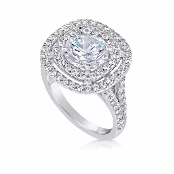2.32 Carat Round Cut Diamond Engagement Ring 14K White Gold