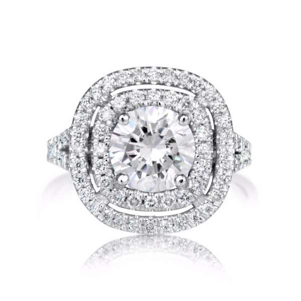 2.32 Carat Round Cut Diamond Engagement Ring 14K White Gold 4