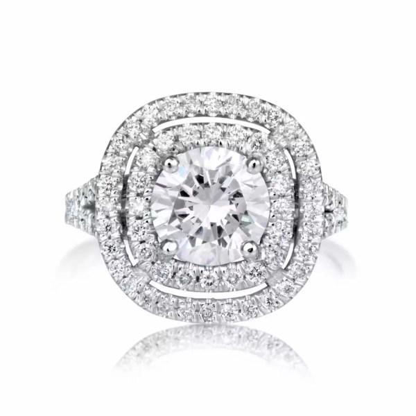 2.32 Carat Round Cut Diamond Engagement Ring 14K White Gold 4