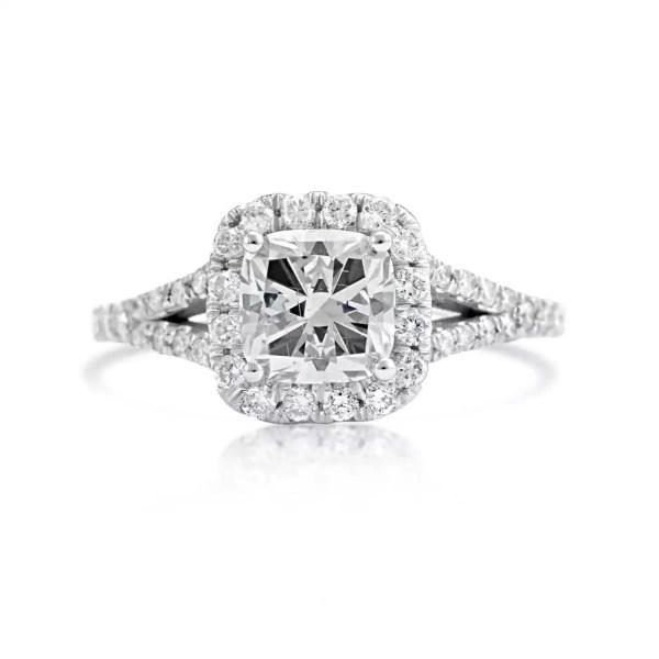 2.4 Carat Cushion Cut Diamond Engagement Ring 18K White Gold 2