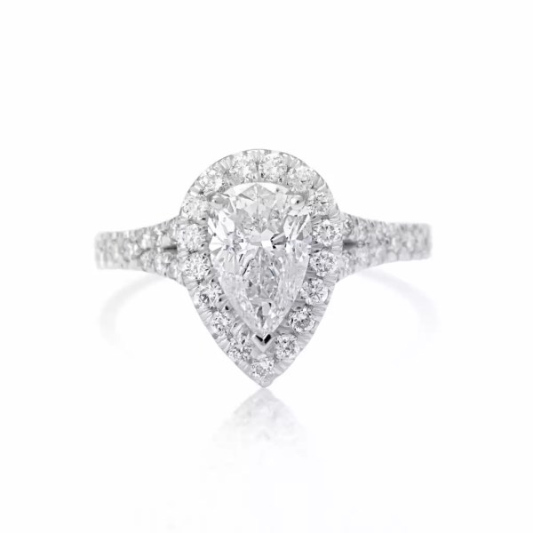 2.5 Ct Pear Shape Cut DSi1 Diamond Solitaire Engagement Ring 18K White Gold 3