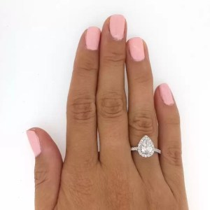 2.50 Ct Pear Shape Cut Si1 Diamond Solitaire Engagement Ring 18K White Gold