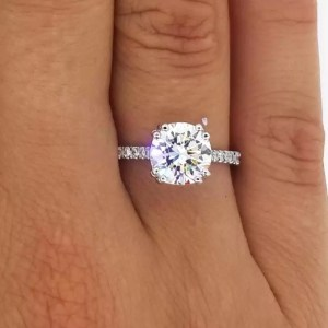 2.52 Carat Round Cut Diamond Engagement Ring 14K White Gold