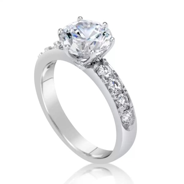 2.70 Ct Round Cut Diamond Solitaire Engagement Ring 14K White Gold