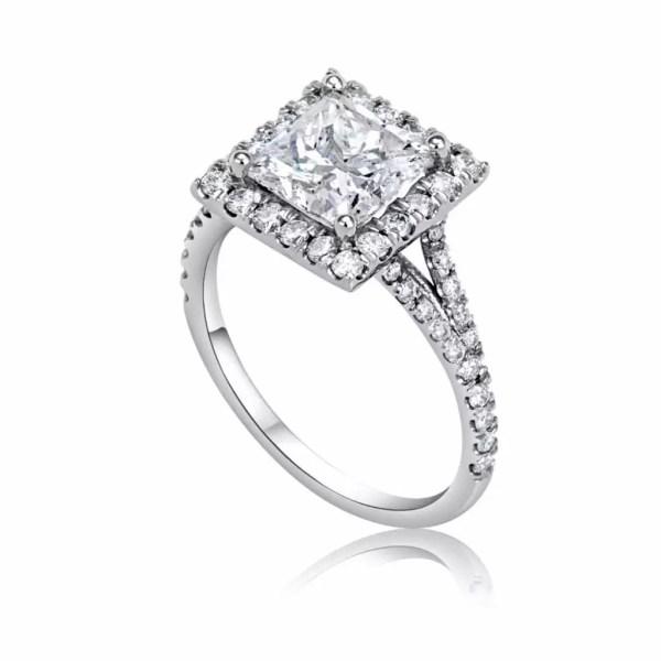 3 Carat Princess Cut Diamond Engagement Ring 14K White Gold 4