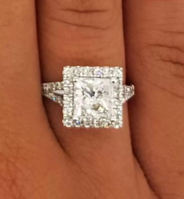 3 Carat Princess Cut Diamond Engagement Ring 14K White Gold