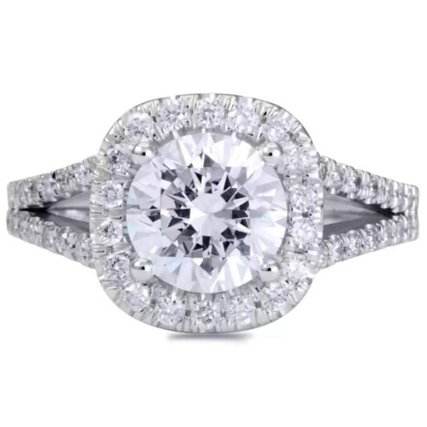3 Carat Round Cut Diamond Engagement Ring 14K White Gold 3