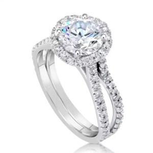3 Carat Round Cut Diamond Engagement Ring 14K White Gold