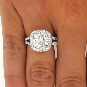3 Carat Round Cut Diamond Engagement Ring 14K White Gold
