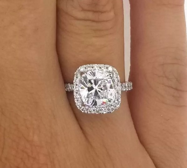 3 Carat Round Cut Diamond Engagement Ring 18K White Gold