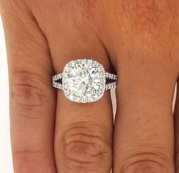3.5 Carat Round Cut Diamond Engagement Ring 14K White Gold