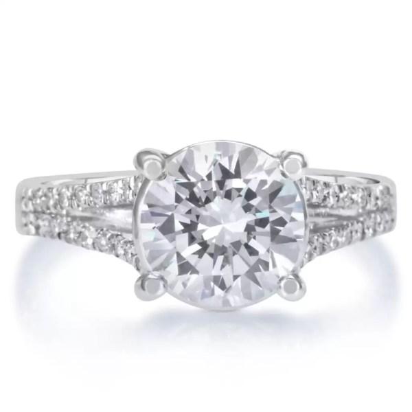3.5 Carat Round Cut Diamond Engagement Ring 18K White Gold