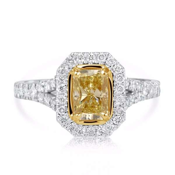 3.50 Ct Radiant Cut Diamond Solitaire Engagement Ring 18K Gold 2