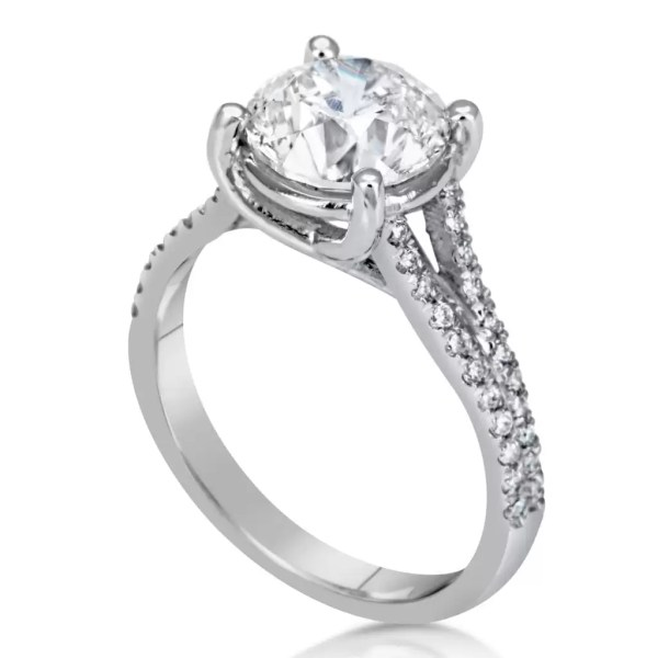 3.50 Ct Round Cut DVs2 Diamond Solitaire Engagement Ring 18K White Gold 3