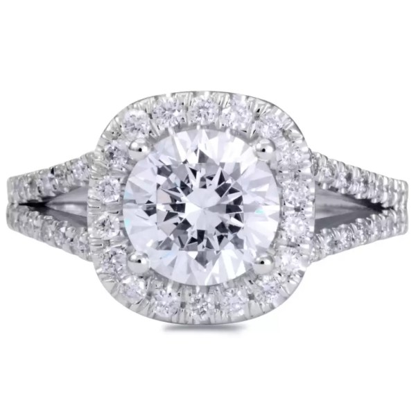 3.6 Carat Round Cut Diamond Engagement Ring 14K White Gold 2