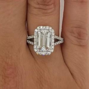 4 Carat Emerald Cut Diamond Engagement Ring 18K White Gold