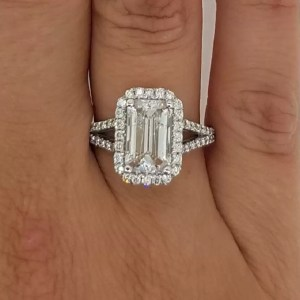 4 Carat Emerald Cut Diamond Engagement Ring 18K White Gold