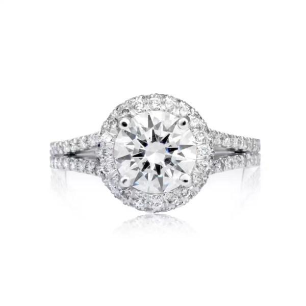 4.1 Carat Round Cut Diamond Engagement Ring 18K White Gold 2