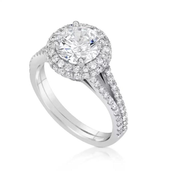 4.1 Carat Round Cut Diamond Engagement Ring 18K White Gold 3