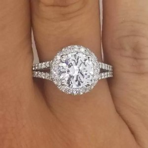 4.1 Carat Round Cut Diamond Engagement Ring 18K White Gold